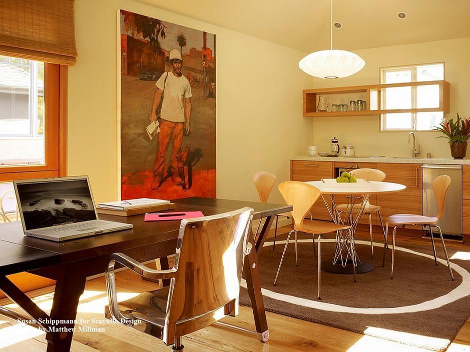 Locuinta moderna: bucatarie, sufragerie si birou intr-o singura incapere