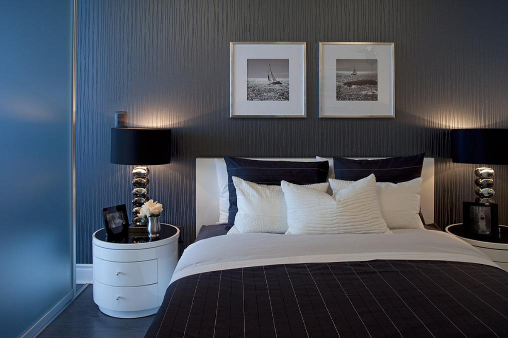 Dormitor modern decorat in alb si negru