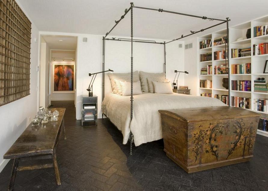 Piese de mobilier si decor rustice intr-un dormitor modern