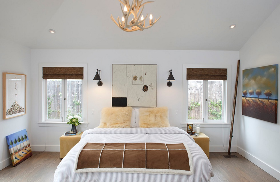 Dormitor modern cu elemente rustice