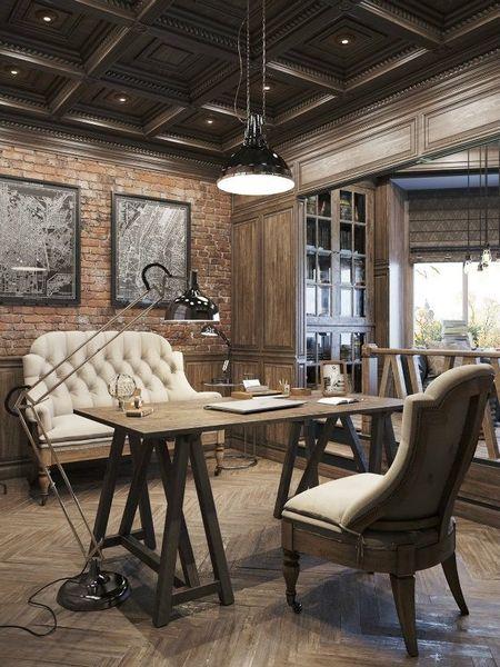 Poze Birou si biblioteca - Birou cu un design interior in care elemente ale stilului clasic se completeaza perfect cu cele ale stilului industrial