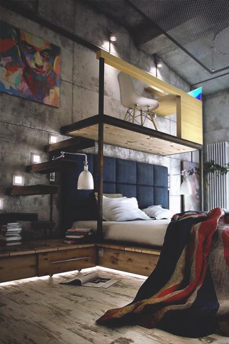 Poze Dormitor - Dormitor si birou intr-un spatiu cu design industrial