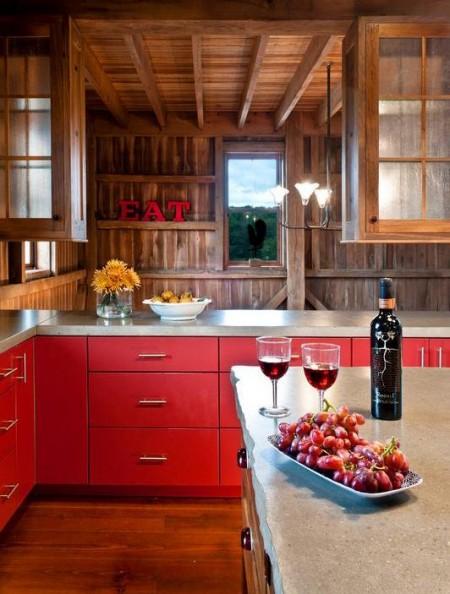 Poze Case lemn - Bucatarie moderna intr-o casa de lemn