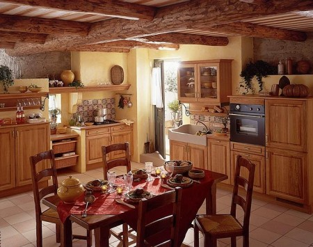 Poze Bucatarie - Amenajare bucatarie in stil traditional francez