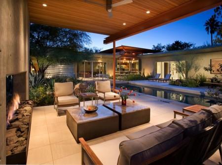 Terasa moderna ce incorporeaza un semineu decorativ Outdoor room design ideas home