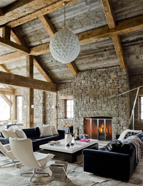 Poze Living - Mobilier modern intr-un background rustic