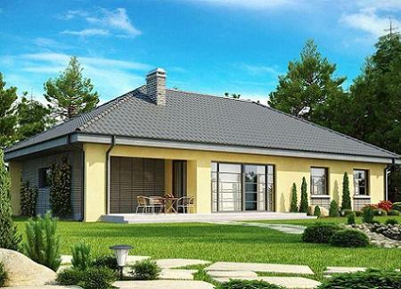 Poze Fatade - Casa fara etaj cu 3 dormitoare, 2 bai, garaj si acoperis in 4 ape