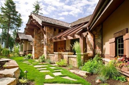 Poze Gradina de flori - Casa si amenajare exterioara rustica