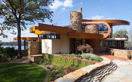 Poze Fatade - Exterior casa cu arhitectura organica moderna