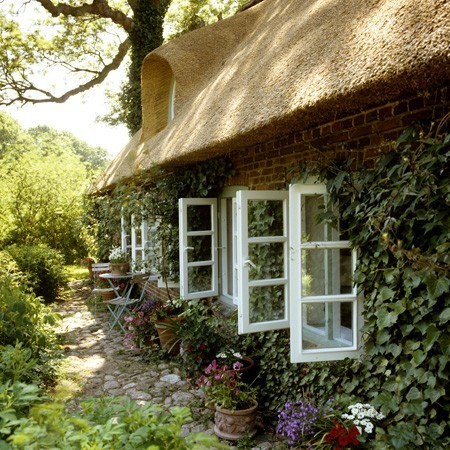 Casa cu acoperis de stuf si o curte plina de plante si flori