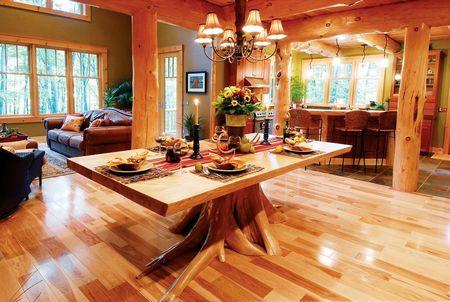 Poze Sufragerie - Masa din lemn cu un picior original