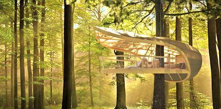 Poze Case lemn - Casuta in copac sub forma unei barci