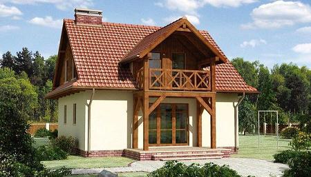 Poze Fatade - Casa cu parter si mansarda. O locuinta cu balcon din lemn, lucarna si 3 dormitoare