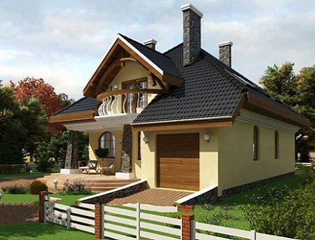 Poze Fatade - O casa cu mansarda cu fatada amenajata in galben pal