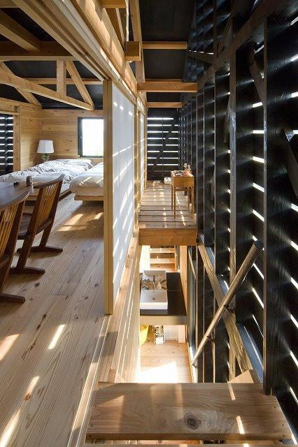 Dormitor cu pereti realizati cu panouri japoneze shoji