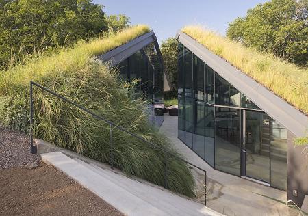 Poze Fatade - Fatada de sticla si acoperis verde
