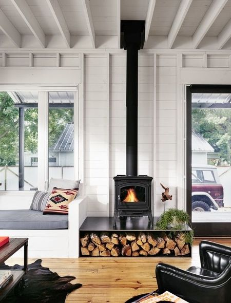 Poze Seminee - Soba-semineu intr-o casa moderna din lemn