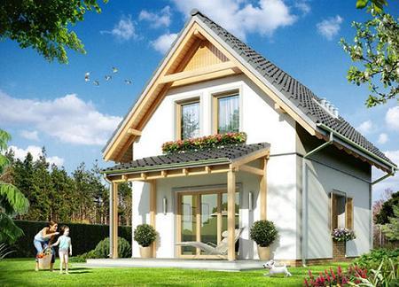 Poze Fatade - Casa mica si ieftina, cu mansarda, cu trei dormitoare si veranda