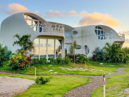 Poze Fatade - Arhitectura organica la o casa cu etaj moderna construita pe malul marii