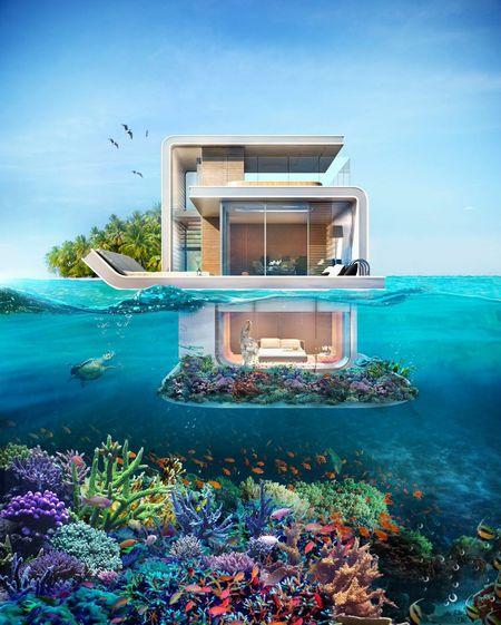 Poze Fatade - Casa plutitoare cu pereti din sticla, partial sub nivelul apei