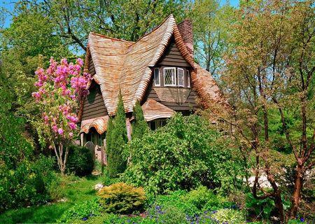 Poze Case lemn - Casa de poveste construita din lemn si acoperita cu sindrila