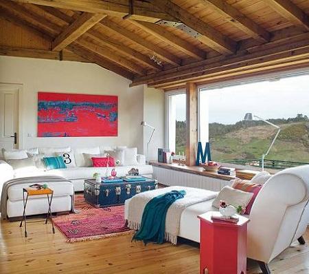 Poze Living - Amestec de rustic si modern in living
