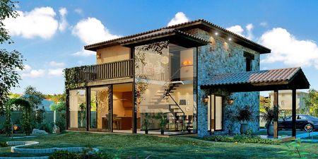 Poze Fatade - Piatra si sticla pe fatada unei case cu arhitectura traditionala