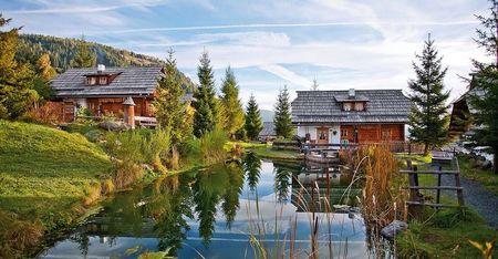 Poze Cascada si iaz - Un iaz natural intregeste peisajul superb in care au fost construite aceste case traditionale din lemn