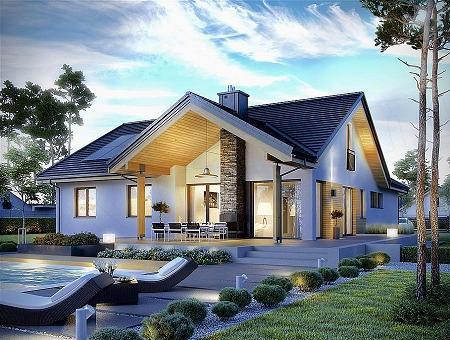 Poze Fatade - Casa fara etaj, cu trei dormitoare, cu design modern, elegant