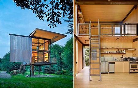 Poze Case lemn - Casa mica pentru o singura persoana cu ferestre impresionante