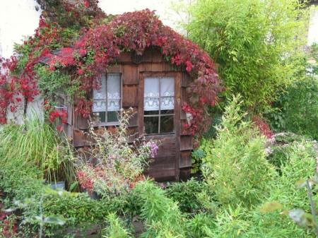 Poze Casute de gradina - Casuta de gradina acoperita cu plante decorative