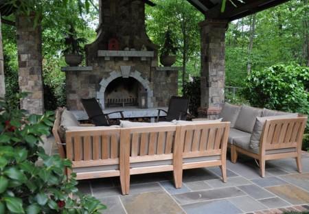 Poze Seminee, gratare gradina - Semineu de terasa placat cu piatra naturala