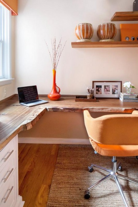 Poze Birou si biblioteca - Atmosfera tonica in biroul amenajat acasa
