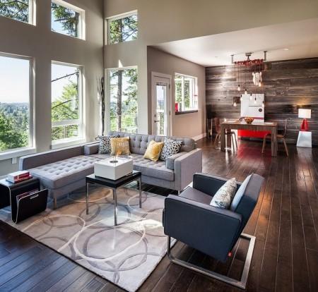 Poze Living - Un mix reusit de culori calde si reci intr-un interior modern