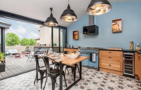 Poze Bucatarie - Albastrul in bucataria moderna