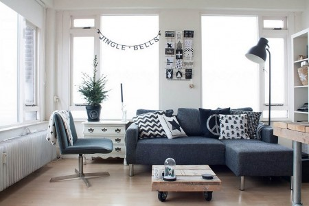 Poze Living - Decor de Craciun simplu, specific stilului scandinav