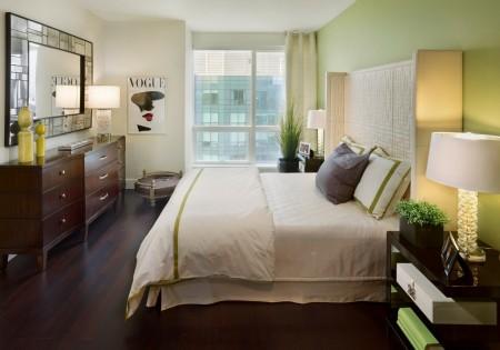 Poze Dormitor - Verdele, culoarea de accent a a cestui dormitor
