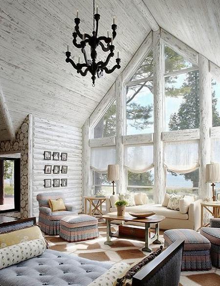 Poze Case lemn - Zona de zi rustica - cabana din lemn de barne