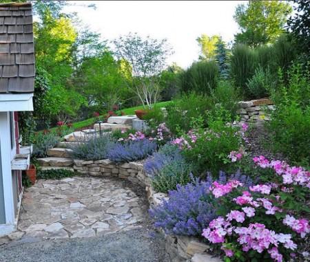 Poze Gradina de flori - Gradina terasata cu flori si gazon