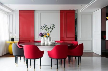 Poze Sufragerie - Stucaturi clasice adaptate unei sufragerii moderne