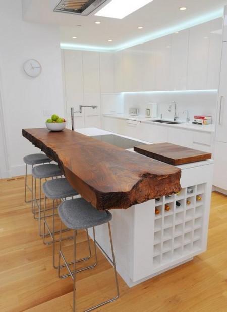 Poze Bucatarie - Bar realizat dintr-o scandura masiva din lemn de nuc
