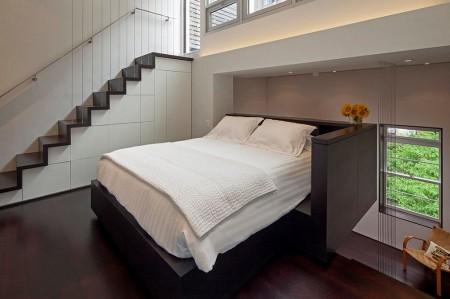 Poze Dormitor - Dormitor amenajat pe o platforma suspendata intr-un apartament