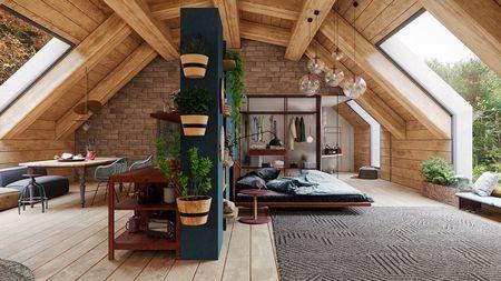 Poze Dormitor - Un zid-paravan delimiteaza zona de zi de cea de noapte