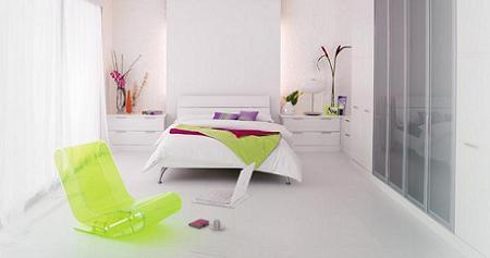 Poze Dormitor - Dormitor in totalitate alb cu accesorii care au culori fresh
