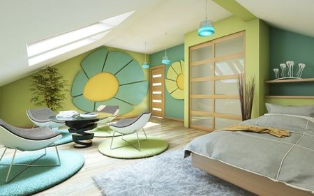 Poze Dormitor - Design interior colorat si vesel pentru un dormitor amenajat la mansarda