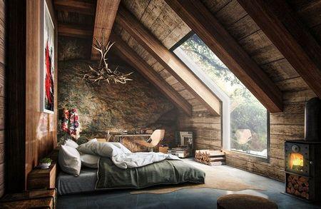 Poze Dormitor - O atmosfera unica in acest dormitor amenajat la mansarda