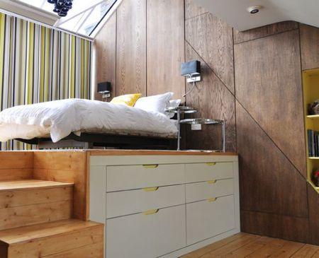 Poze Dormitor - Solutia pentru dormitoarele mici: patul amplasat pe o platforma cu spatiu de depozitare dedesupt
