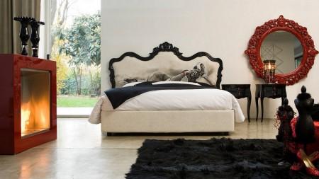 Poze Dormitor - Dormitor glamour decorat in rosu, alb si negru