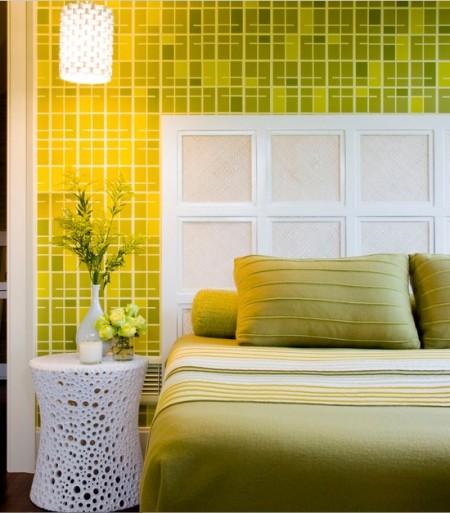 Poze Dormitor - Dormitor modern in nuante de verde-crud