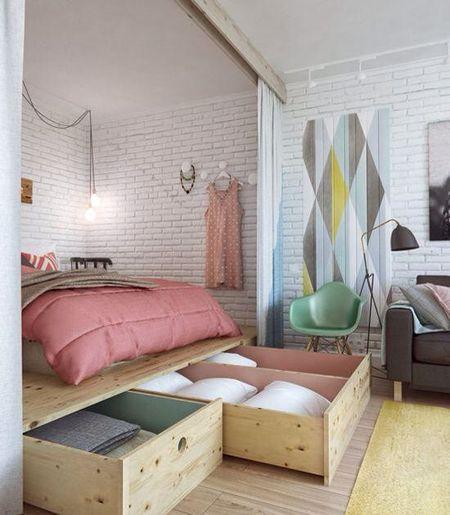 Poze Dormitor - Un mod ingenios de a castiga spatiu in dormitor